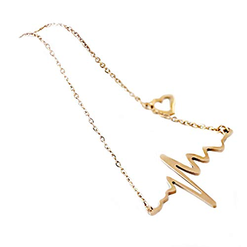 ODJOY-FAN Neu Frau Halskette Elektrokardiogramm Halskette Herzschlag Rhythmus mit Liebe Herz Geformt Anhänger Kette(Gold,1 PC)