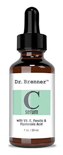 Sérum de vitamina C 20% de ácido L-ascórbico puro, ácido ferulico, vitamina E y ácido hialurónico para cara y ojos 1 oz. por Dr. Brenner