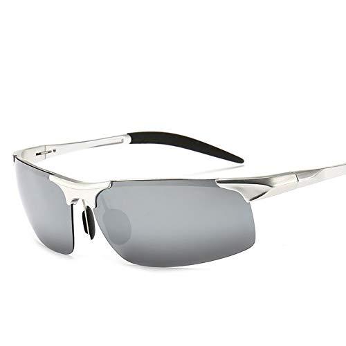 LLQ Herren-Aluminium-Magnesium-Sport polarisierte Sonnenbrillen bei Nacht, silberne Rahmen-Quecksilber-Tabletten