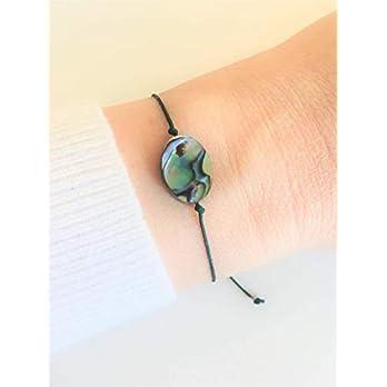 KAAYAH Maori Bracelet – Damen-Armband mit Abalone Muschel Charm – verstellbares Textilband – handmade