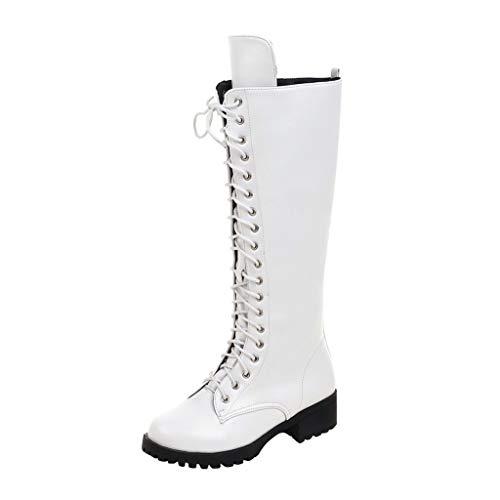 MakefortuneWomens Lace Up Kniehohe Waden Stiefel Damen Winter Grip Sole Military Combat Biker Stiefel Schuhe Größe 4-8