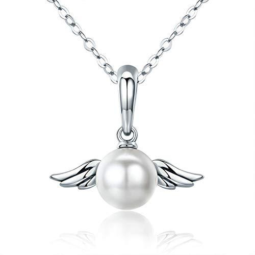 HSUMING Engel Flügel Anhänger 925 Sterling Silber Perle Halskette Anhänger für Mädchen, Amor kann Nicht die Richtung (Amor Engel Kostüm)