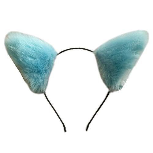 ONECHANCE Katzenohren Stirnband Fuchsohren für Halloween Kostüm Anime Cosplay Disguise Color Blau Size one size