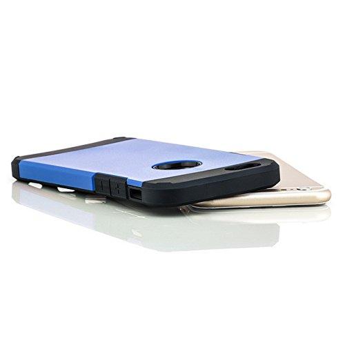 Saxonia Schutzhülle + Panzerglas Apple iPhone 6 / 6S Hülle Hybrid Silikon Case Schutzhülle Back Cover Outdoor Extra Robust Gold Blau