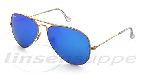 Ray-Ban Aviator Large Metal Sunglasses RB3025- Matte Gold Frame Crystal Blue Mirror RB3025-112-17-58