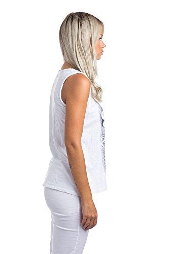 Abbino Tops Débardeurs Femmes - Fabriqué en Italie - 1 Couleur - Transition Printemps Été Automne Plaine Elegant Classique Vintage Casual Sexy Party Uni Sans Manche - Taille Unique Blanc (Art. 0729)