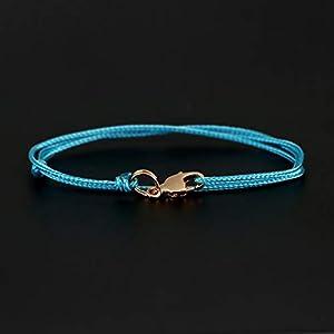 Dezentes Armband für Herren – edles Wickelarmband für Männer Minimalistisch – stufenlos verstellbar mit Karabiner-Haken Gold (Hellblau)