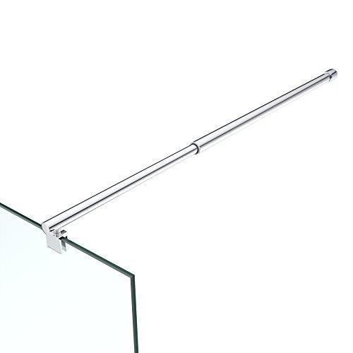 Haltestange für Duschwände Dusche Duschabtrennung rund Stabilisator Edelstahl Verstellung 700-1200 mm Glasstärken 6-10 mm GS21