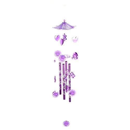 Dealmux Plastique cadeaux de Noël rond Cercle visage souriant Fleur Perles Pendentif à suspendre Windbell Violet