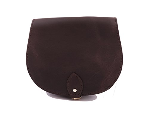 Vendimia de brun de cuero real cuerpo de la cruz de una silla del bolso con correa ajustable y Cierre Hebilla