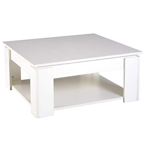Homcom Table Basse carrée Design Contemporain avec étagère dim. 80L x 80l x 36H cm Panneaux Particules Blanc