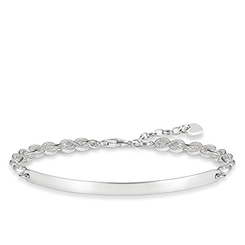 Thomas Sabo Damen-Armband Love Bridge 925 Sterling Silber Zirkonia weiß Länge von 16.5 bis 19.5 cm Brücke 5.4 cm LBA0043-051-14-L19,5v