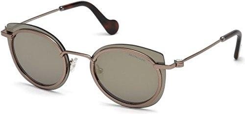 Moncler Unisex-Erwachsene Sonnenbrille ML0017 36L 56, Gold (Bronzo Scuro Luc/Roviex Specchiato)