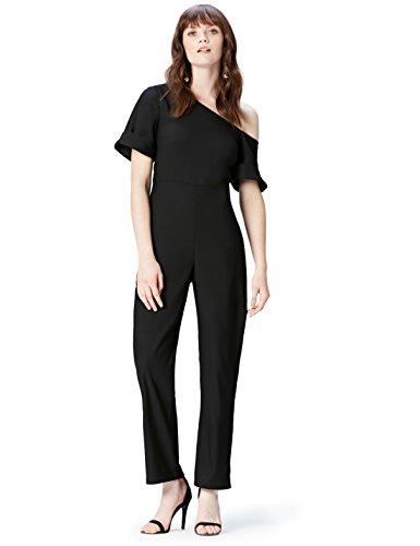FIND Jumpsuit Damen Off Shoulder-Schnitt und gerades Bein, Schwarz (Black Beauty 19-3911), 36 (Herstellergröße: Small)