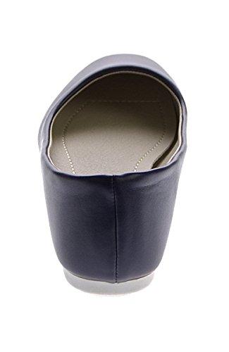 Damen Ballerinas Kunst Leder flach Schuhe Schwarz Weiß Blau Slipper Sandalen Gr. 36 - 41 Dunkelblau