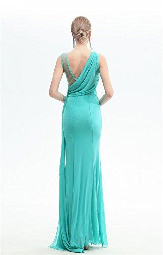 Beauty-Emily-Nixe-Rüsche Watteau Tailing Maxi langes Ohne Arm Abend-Kleid Grün