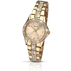 Sekonda Stone Set Starfall Champagne Dial Gold Plated Stainless Steel Bracelet Ladies Analogue Quartz Watch 2020