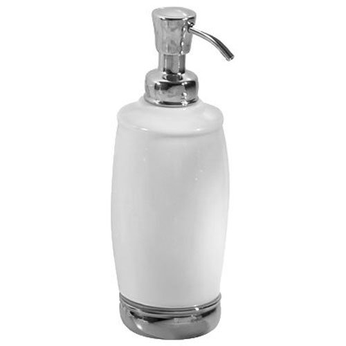 InterDesign York Tall Soap Dispenser/Pump for the Bathroom, Made of Ceramic and Metal, White/Chrome