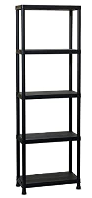 TOOMAX 180 x 60 x 30cm Universal Shelving 63-5 Maxi Shelf Unit with 5 Shelves - Black