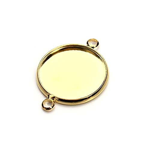 Sauvoo Beads 10pcs Double Loop Bezel Cup Cabochon Mountings Hole Connectors Settings Base DIY Jewelry Setting (Gold double hole