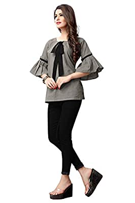 Fidubi Women's Cotton Regular Fit Top (TEX_Top_13_Grey)