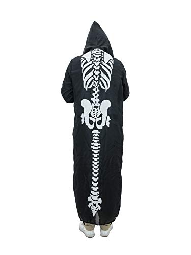 EUROPALMS Halloween Kostüm Skelett-Umhang mit Kapuze | Länge 140 cm