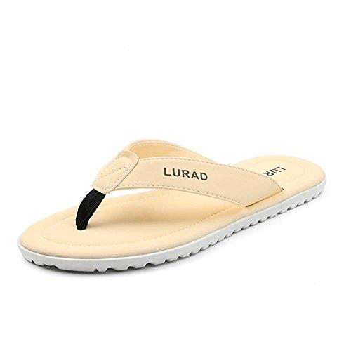 ALUK- Sandales d'été - Hommes Pieds Wear Wear Trend Simple Beach Cool Chaussons ( Couleur : Off white , taille : 39 ) Off white