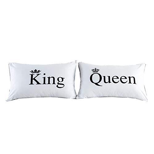 NTBED - Kissenbezüge für Liebespaar, für Ihn/für sie; Geschenk für Paare (Kissenfüllung ist nicht im Lieferumfang enthalten), Polyester, King Queen, Standard -