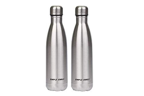 Dealmor Isoliert Wasser Flasche Edelstahl doppelwandige Vakuumisolierung Passt in Fahrrad Wasser Flasche Käfig-17oz, Rot (2Stück) (Wasser-flasche-stativ)