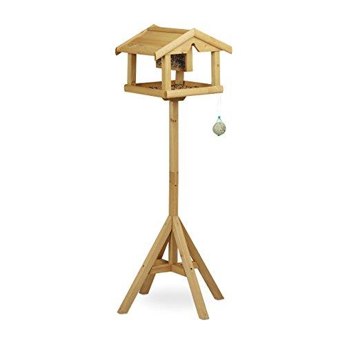 Relaxdays Volière perchoir pour oiseaux maison pour oiseaux sur pied mangeoire en bois HxlxP: 117 x 50 x 50 cm, marron