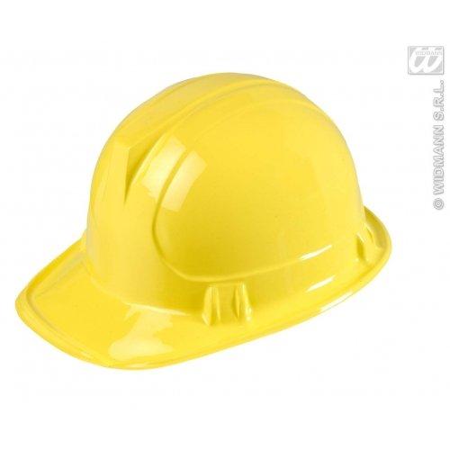 Bau Kostüm Frauen - Widmann 2863B Bauarbeiterhelm für Erwachsene, gelb, Einheitsgröße