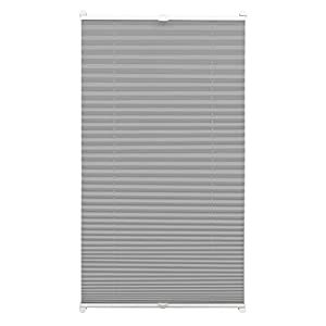 Gardinia EASYFIX Pleated Blind with 2 Operating Rails Slate 90 x 210, Fabric 100% Polyester 90 x 210 cm