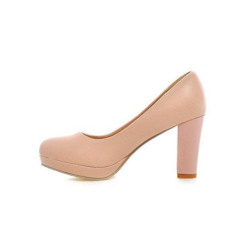 VogueZone009 Femme Fermeture D'Orteil Rond Tire Pu Cuir Couleur Unie à Talon Haut Chaussures Légeres Rose