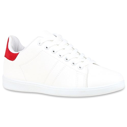 Sportliche Damen Sneakers Sneaker Low Lack Retro Flats Schnürer Animalprints Veloursleder-Optik Schuhe 109721 Weiss Rot 40 | Flandell®