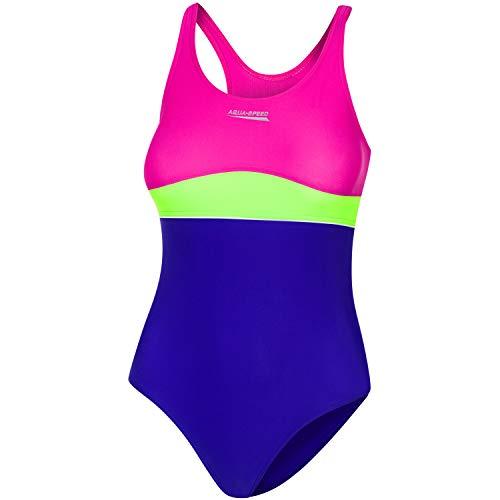 Aqua Speed Sportbadeanzug Mädchen 10/11 Jahre I Badeanzug Einteiler für Kinder I UV Schwimmanzug violett grün rosa I Kids Swimwear Sport I Strand I Violet - Green - pink I Emily