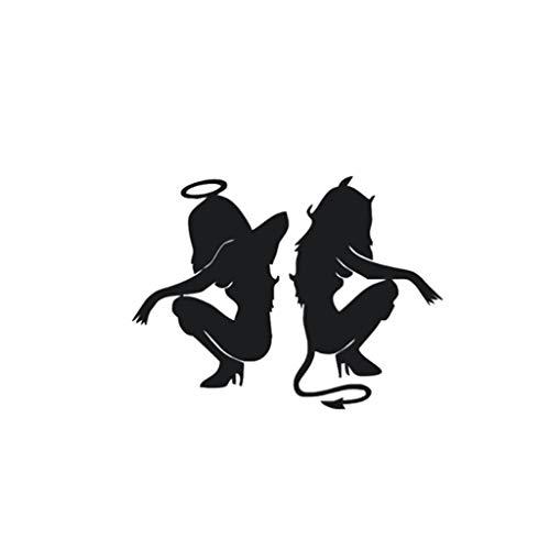 jgashf Angelo e Diavolo Adesivo per Auto, Vinile Adesivi Decalcomanie,Ragazza Sexy Sticker per Computer Portatile, Bambini, Moto, Bicicletta, Auto Paraurti 20X15CM (Nero)