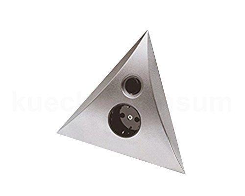 Hera Dreieck Steckdosen-Schalter Element 2fach Steckdose und Schalter silberfarbig Eckeinbau -
