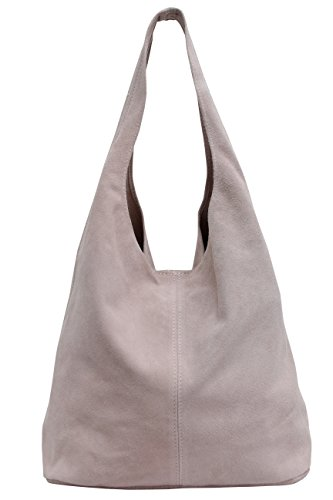 Damen Ledertasche Shopper Wildleder Handtasche Schultertasche Beuteltasche WL818 (Altrosa)