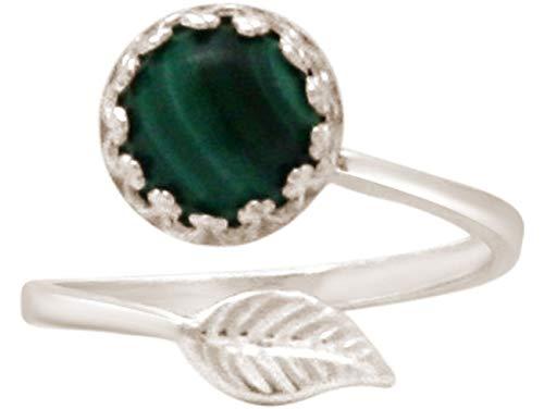 Gemshine Damen Ring mit grünem Malachit Edelstein - Größenverstellbar. 925 Silber, hochwertig vergoldet oder rose - Qualitätsvoller Schmuck Made in Spain, Metall Farbe:Silber