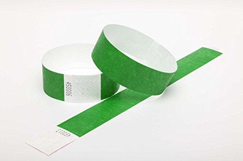100 Tyvek security paper event wristbands (dark green, 1