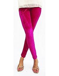 Hap Women's Polyester Leggings (#Velvetlegging_Pink_Pink_Free Size)
