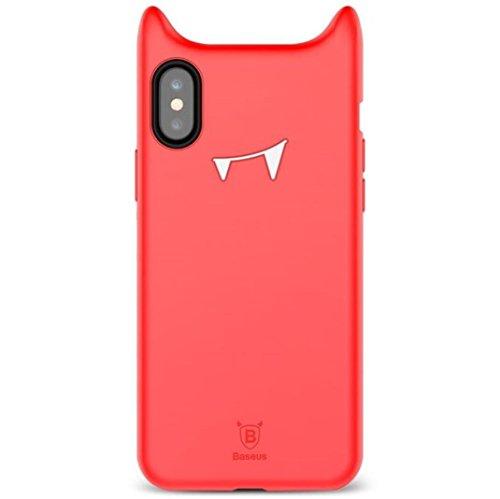 giosio für iPhone X Fall Cute Lovely Naughty Funny Devil Vampir Horn Hörner Monster Demon Halloween Spielzeug Cartoon Weichen Silikon stoßfest für iPhone X Schwarz, Rot