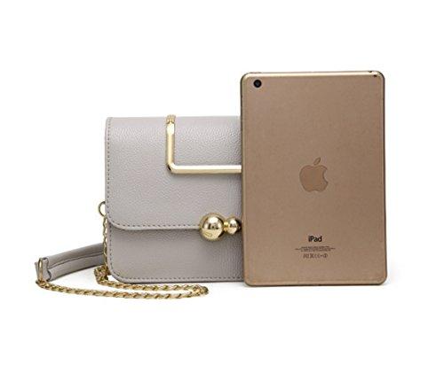 Damen luxuriös PU Umhängetasche Handtaschen Henkeltaschen Schultertasche (grau) grau