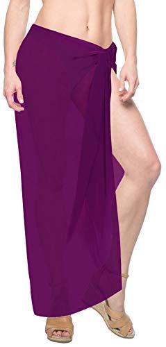 LA LEELA 5 Modelle Sarong Badeanzug Schließe Strandkleidung Tuch Wickeltuch Pareo Wickelrock Strandtuch Handtuch Violett