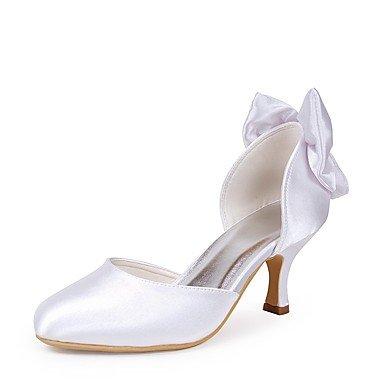 Wuyulunbi@ Scarpe donna seta Primavera Estate della pompa base Wedding scarpe tacco basso punta chiusa Bowknot per la festa di nozze & Sera Champagne rosso bianco Bianco
