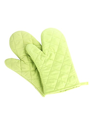 1 Paar Verdickte Hitzebeständige Ofenhandschuhe Topflappen Mikrowellenofen Handschuhe Backhandschuhe Gesteppt Baumwolle Polyester - Grün