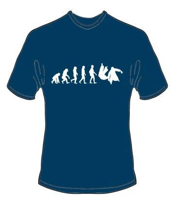 schweres Qualitäts T-Shirt Evolution Aikido Farbe navyblau