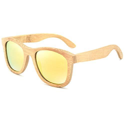 UV400 polarisierte Bambus-Holz-Sonnenbrille, Beschichtung für Männer und Frauen bei Reisen, Sport im Freien und Aktivitäten/als Geschenk für Freunde und Verwandte (Farbe : Gelb)