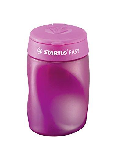STABILO EASYsharpener - Sacapuntas ergonómico con depósito - Afila 3 diámetros distintos - Color rosa - Modelo para ZURDOS