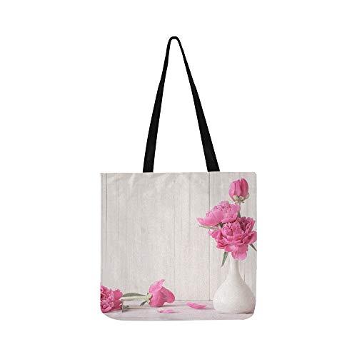 Schöne rosa blumen in vase leinwand tote handtasche umhängetasche crossbody taschen geldbörsen für männer und frauen einkaufen tote